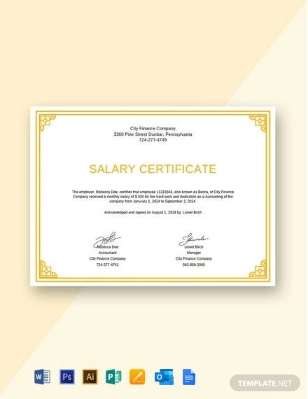 Free Salary Certificate from Employer Template