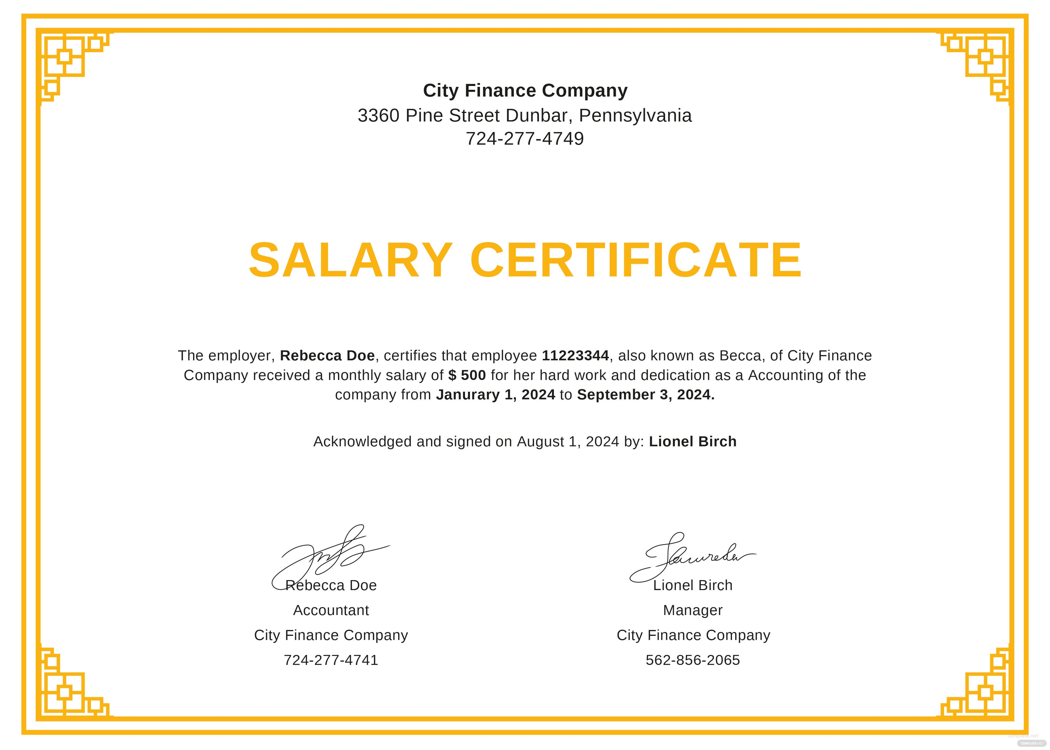 Free Salary Certificate From Employer Template In