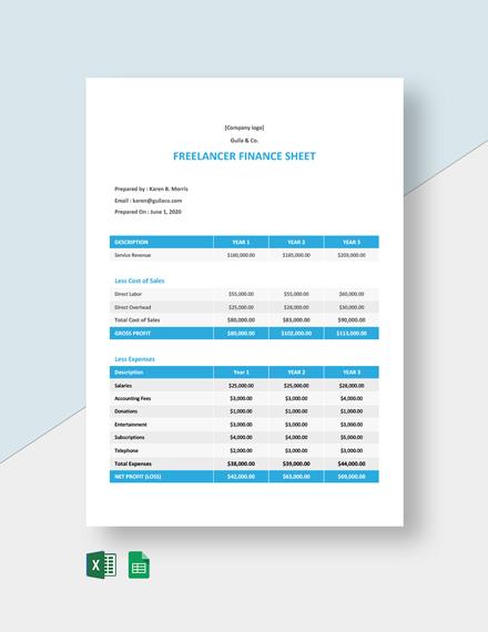 Freelancer Finance Sheet Template