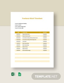 Freelance Work Timesheet Template