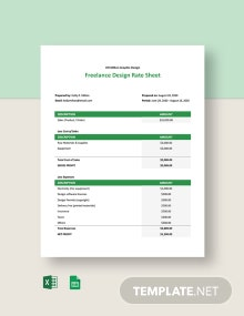Freelance Design Rate Sheet Template
