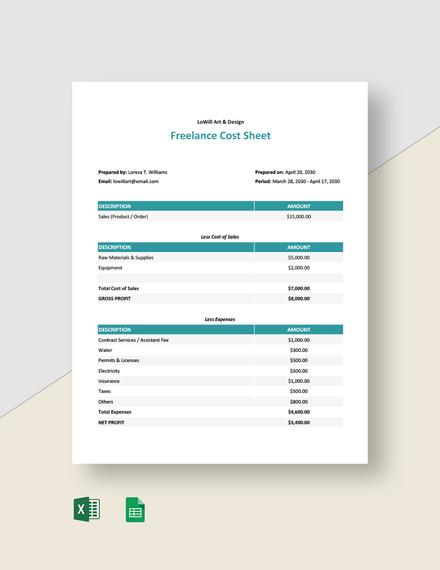 Freelance Cost Sheet Template
