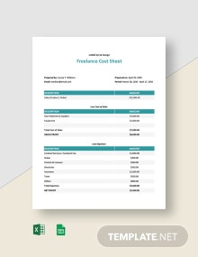 Freelance Cost Sheet Template