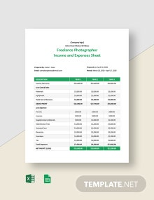 Freelance Photographer Income and Expenses Sheet Template