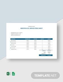 Freelance Service Price Sheet Template