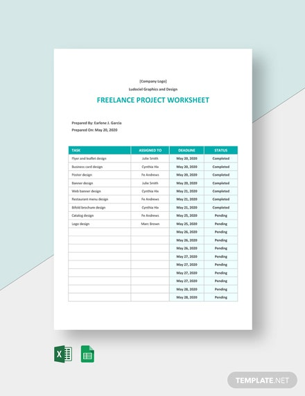 Freelance Project Worksheet Template
