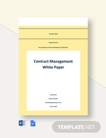 Contract Management White Paper Template