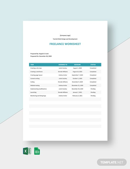 Freelance Worksheet Template