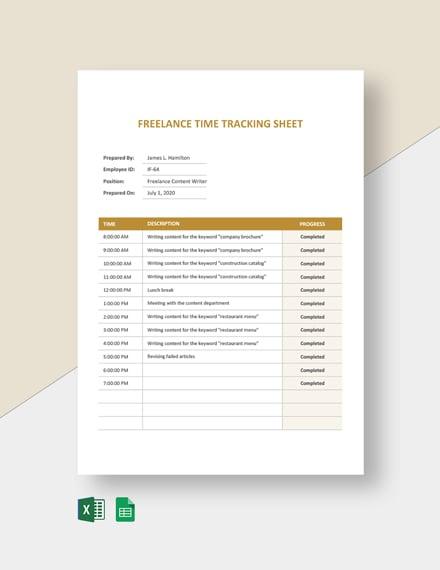 Freelance Time Tracking Sheet Template