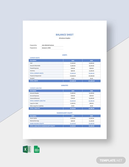 Freelancer Balance Sheet Template