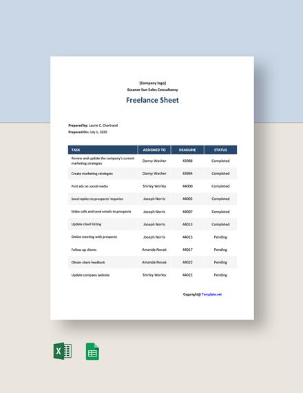 Free Blank Freelance Sheet Template