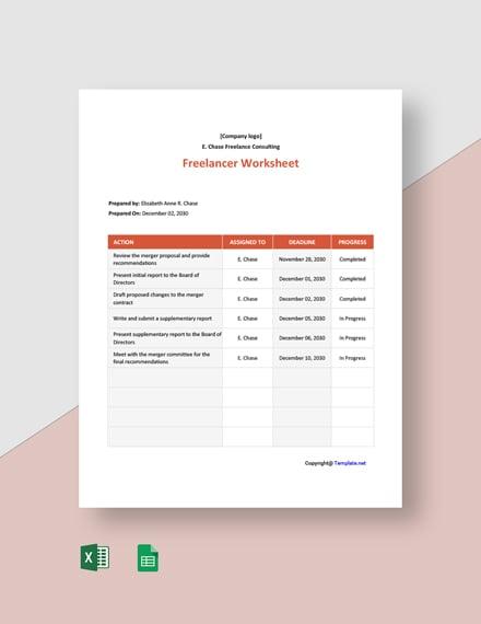 Free Basic Freelancer Worksheet Template