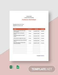 Free Basic Freelancer Worksheet Template