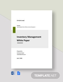 Inventory Management White Paper Template