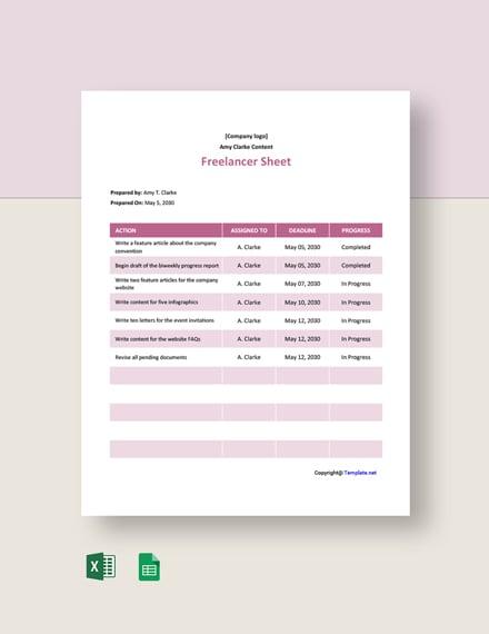 Free Sample Freelancer Sheet Template