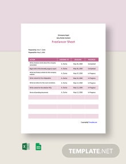 Sample Freelancer Sheet Template