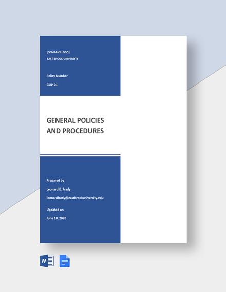 General University Policies & Procedures Template