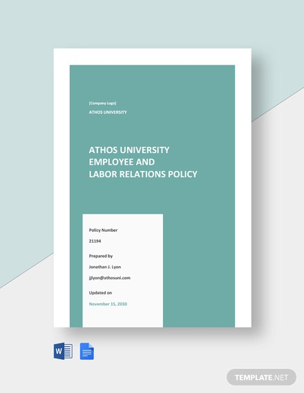 University Employee & Labor Relations Policy Template