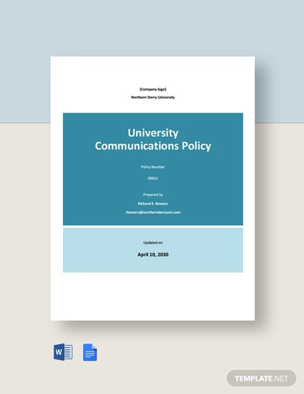 University Communications Policy Template