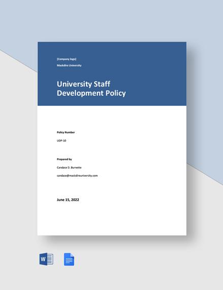 University Staff Development Policy Template