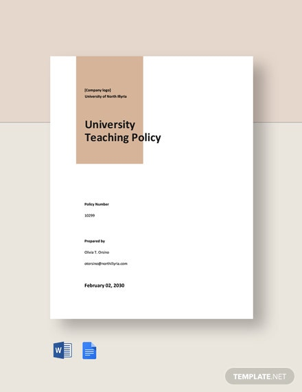 Free University Teaching Policy Template