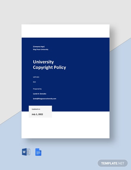 Free University Copyright Policy Template