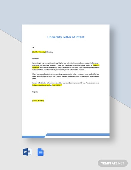 University Letter of Intent Template
