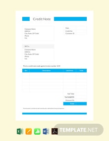 Free Credit Note format