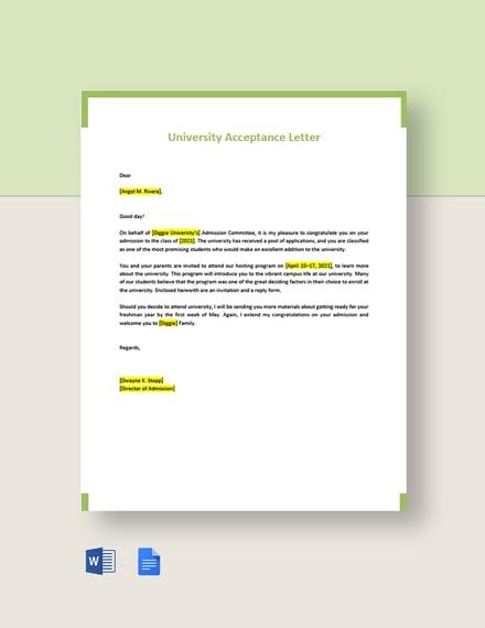 University Acceptance Letter Template