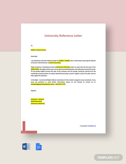 Free University Reference Letter Template