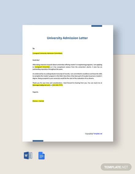 Free University Admission Letter Template