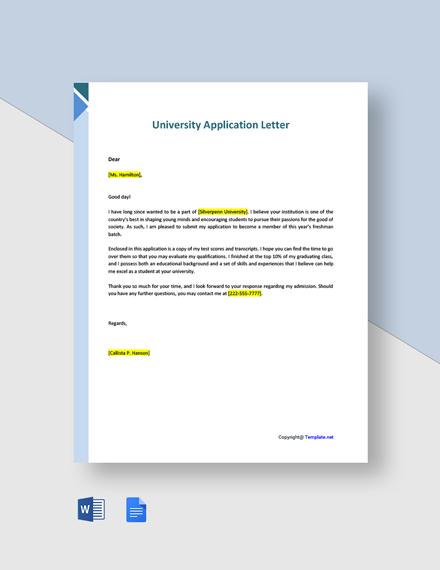 Free University Application Letter Template
