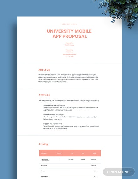 University Mobile App Proposal Template