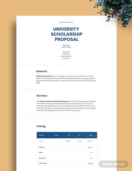 University Scholarship Proposal Template