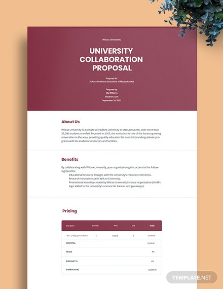 University Collaboration Proposal Template
