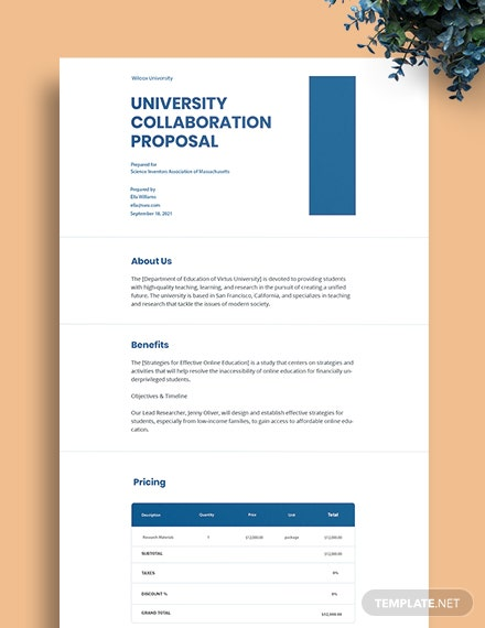 University Grant Proposal Template