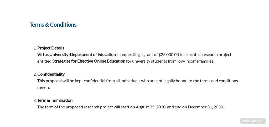 University Grant Proposal Template [Free PDF] - Google Docs, Word, Apple Pages