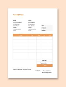 Credit Note sample