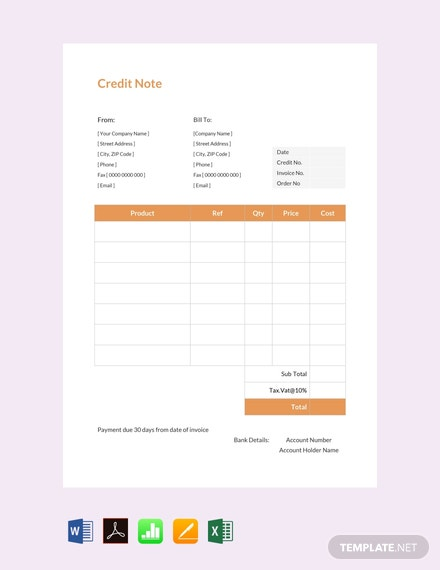 Free Credit Note sample