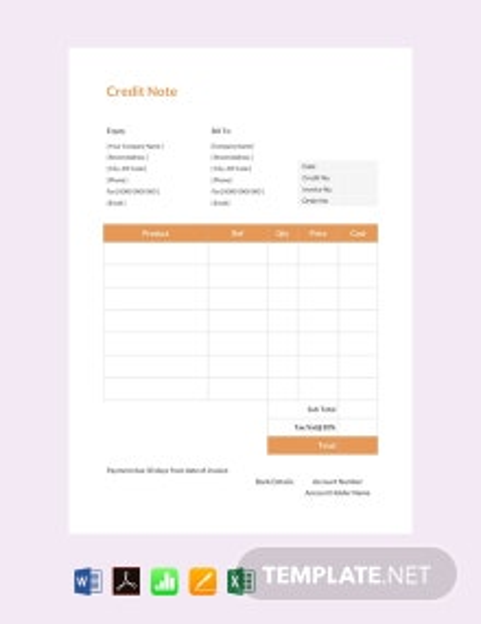 Free Credit Note sample