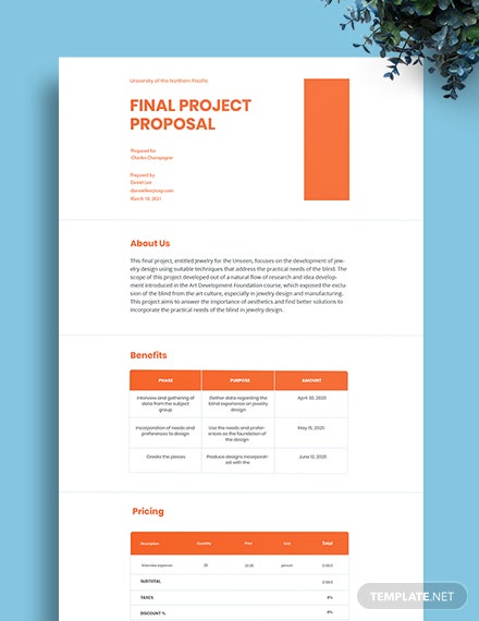 University Final Project Proposal Template