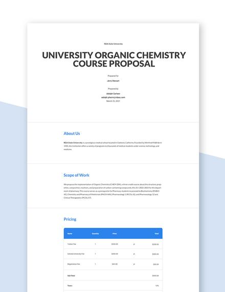 University Course Proposal Template