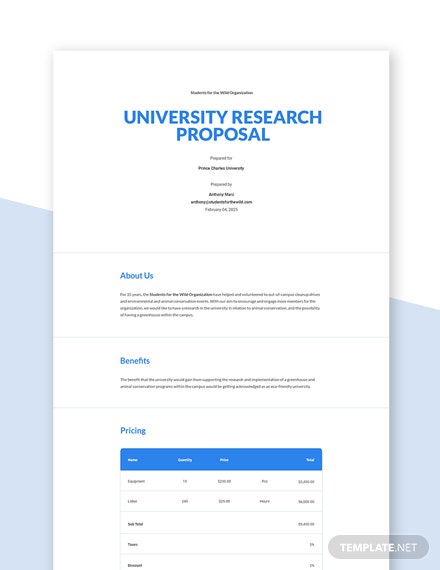 Editable University Research Proposal Template