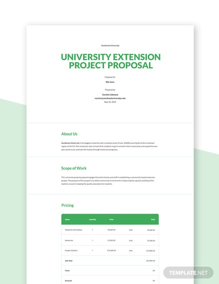 University Project Proposal Template
