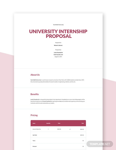 Editable Free Simple University Proposal Template