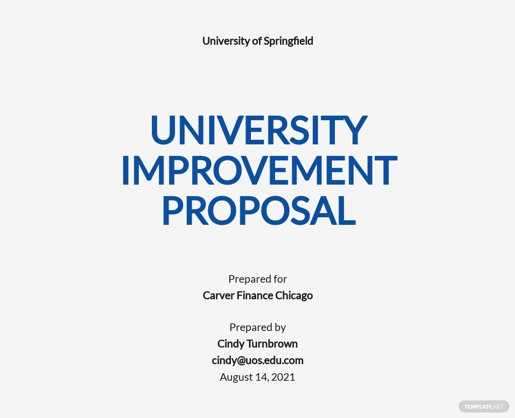 Sample University Proposal Template