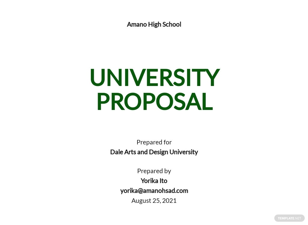 One Page University Proposal Template