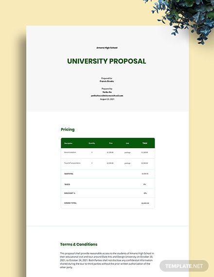 Free One Page University Proposal Template