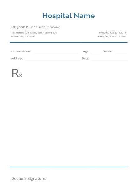 Blank Prescription Template | Free Templates