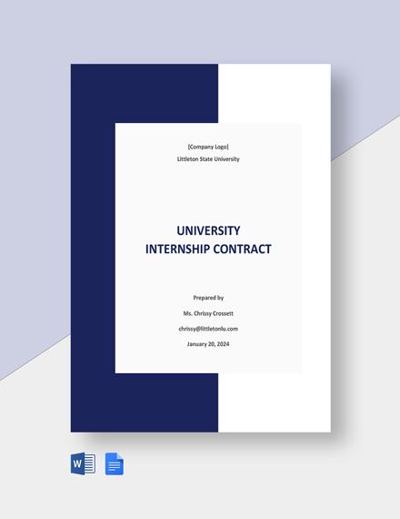 University Internship Contract Template